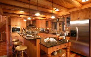 Отделка кухни деревом – доступные материалы и их использование