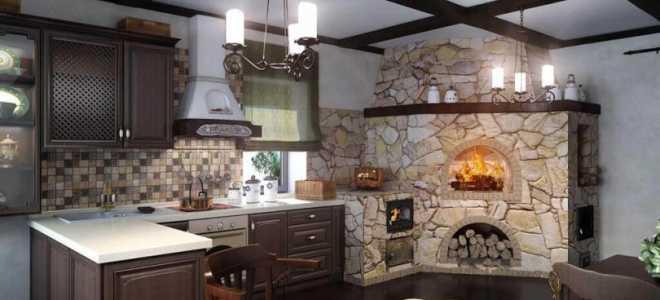 Дизайн кухни с печкой – преимущества и отделка дровяных печей
