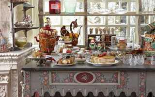 Кухня в русском стиле и его составляющие – печь, мебель, декор, текстиль