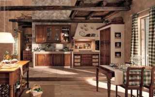 Кухня в стиле шале – особенности оформления потолка, стен, пола и мебели